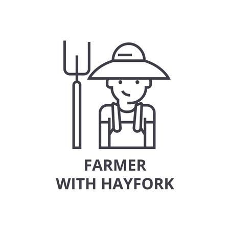farmer with hayfork line icon, outline sign, linear symbol, flat vector illustration Illustration