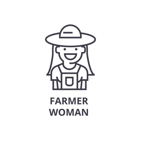 farmer woman line icon, outline sign, linear symbol, flat vector illustration Illustration