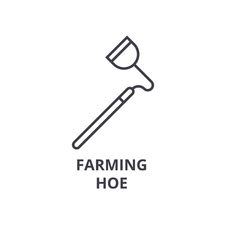 farming hoe line icon, outline sign, linear symbol, flat vector illustration Illustration
