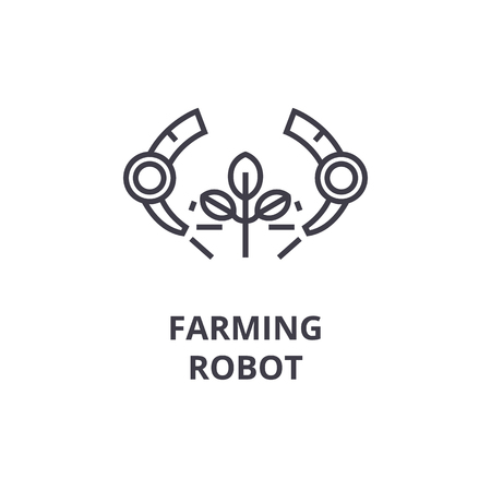 farming robot line icon, outline sign, linear symbol, flat vector illustration