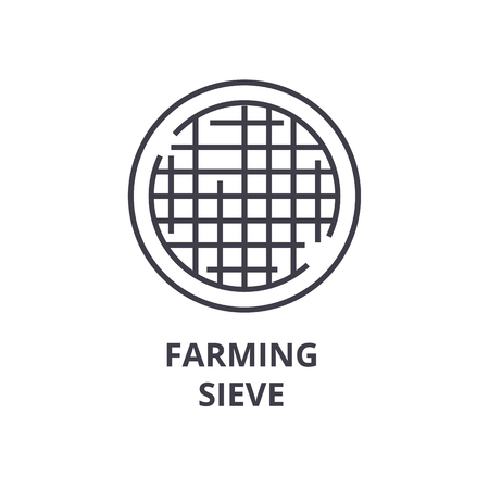 farming sieve line icon, outline sign, linear symbol, flat vector illustration