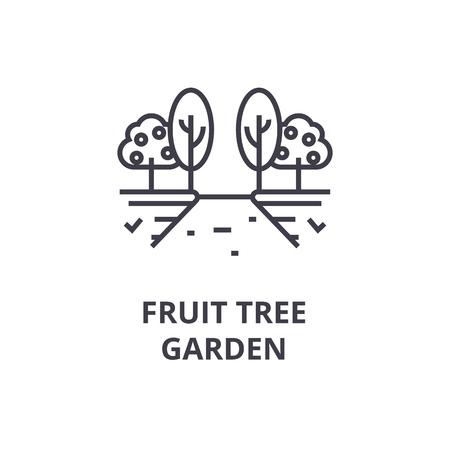 fruit tree garden line icon, outline sign, linear symbol, flat vector illustration