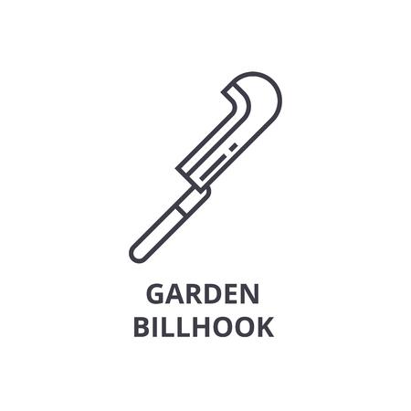 tuin billhook lijn pictogram, overzichtsteken, lineair symbool, platte vectorillustratie