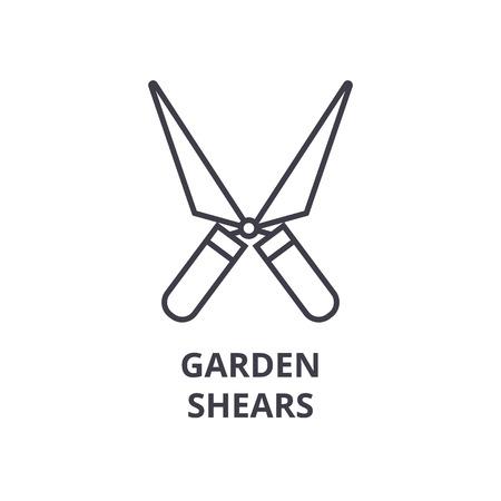 정원 가위 라인 아이콘, 개요 기호, 선형 기호, 평면 벡터 일러스트 레이션