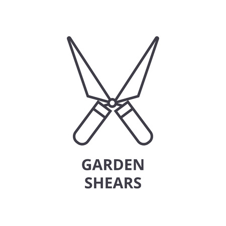 garden shears line icon, outline sign, linear symbol, flat vector illustration 向量圖像