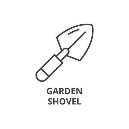 garden shovel line icon, outline sign, linear symbol, flat vector illustration