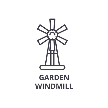 garden windmill line icon, outline sign, linear symbol, flat vector illustration 向量圖像