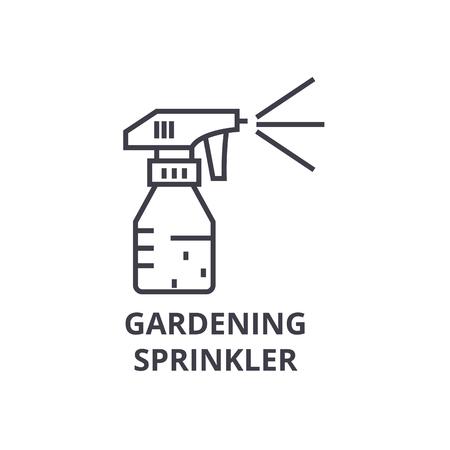 Tuinieren sprinkler lijn pictogram, overzichtsteken, lineair symbool, platte vectorillustratie Stock Illustratie