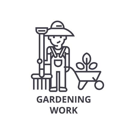gardening work, gardener line icon, outline sign, linear symbol, flat vector illustration Illustration