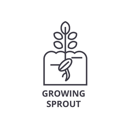 growing sprout line icon, outline sign, linear symbol, flat vector illustration