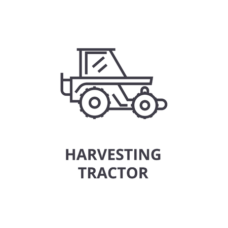harvesting tractor line icon, outline sign, linear symbol, flat vector illustration