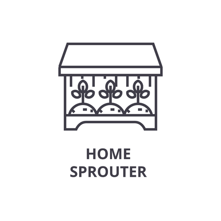 home sprouter line icon, outline sign, linear symbol, flat vector illustration