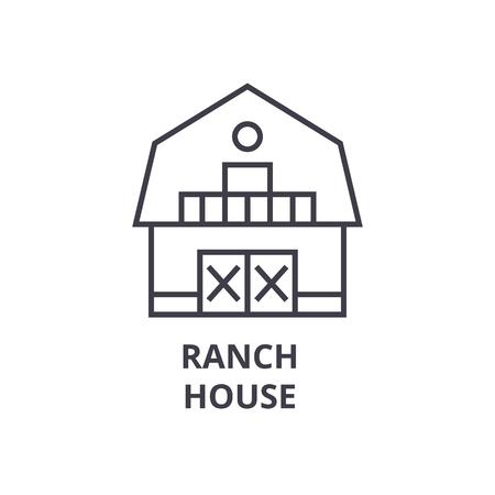 Icona linea ranch house, segno di struttura, simbolo lineare, illustrazione vettoriale piatta Archivio Fotografico - 91101592
