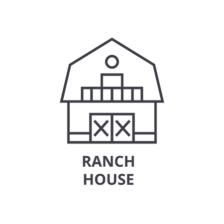 ranch house line icon, outline sign, linear symbol, flat vector illustration