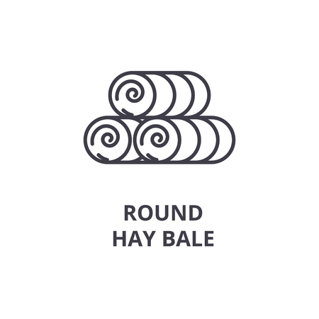 round hay bale line icon, outline sign, linear symbol, flat vector illustration