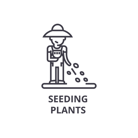 Seeding plants line icon.