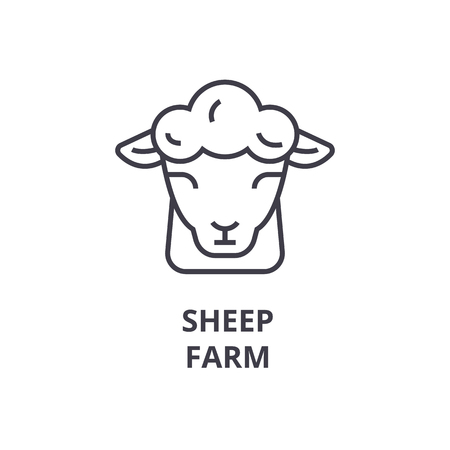 sheep farm line icon, outline sign, linear symbol, flat vector illustration Ilustração