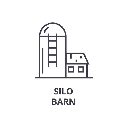 silo, barn line icon, outline sign, linear symbol, flat vector illustration