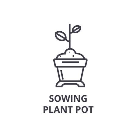 zaaien plant pot lijn pictogram, overzichtsteken, lineair symbool, platte vectorillustratie Stock Illustratie