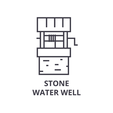 stone water wall line icon, outline sign, linear symbol, flat vector illustration Stock Vector - 91099216