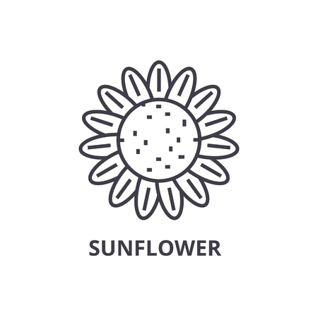 sunflower line icon, outline sign, linear symbol, flat vector illustration