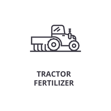Tractor fertilizer line icon. Illustration