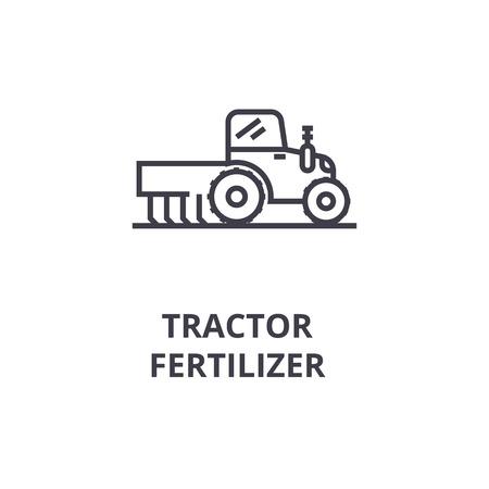 Tractor fertilizer line icon. Çizim