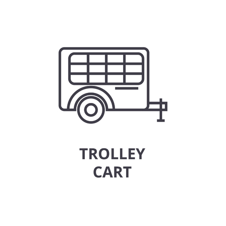 trolley cart line icon, outline sign, linear symbol, flat vector illustration