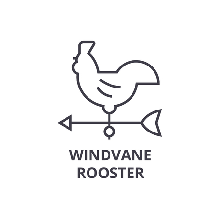 windvane rooster line icon, outline sign, linear symbol, flat vector illustration