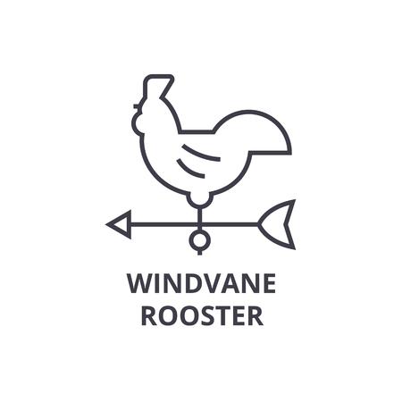 windvane 수탉 선 아이콘, 개요 기호, 선형 기호, 평면 벡터 일러스트 레이션