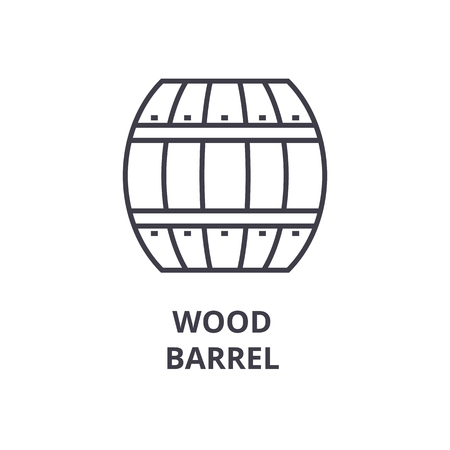 wood barrel line icon, outline sign, linear symbol, flat vector illustration Illustration