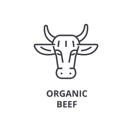 ogranic beef line icon, outline sign, linear symbol, flat vector illustration