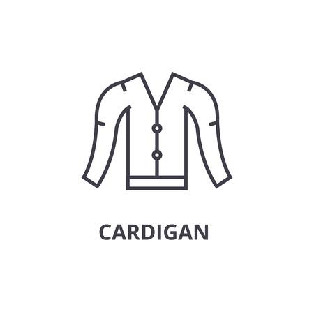 カーディガン ライン アイコン、アウトライン記号、線形シンボル、フラットのベクトル図