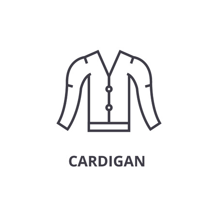 cardigan line icon, outline sign, linear symbol, flat vector illustration 向量圖像