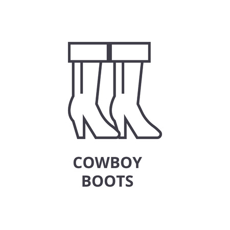 cowboy boots line icon, outline sign, linear symbol, flat vector illustration