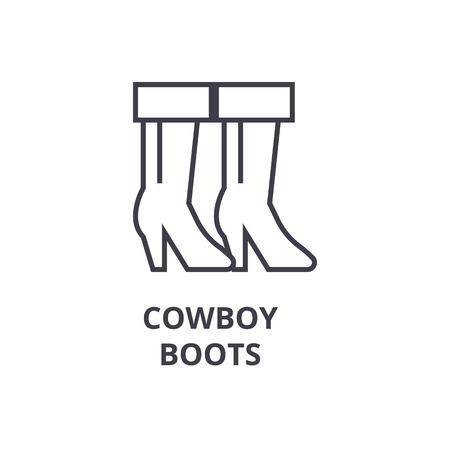 Icona linea di stivali da cowboy, segno di contorno, simbolo lineare, illustrazione vettoriale piana Archivio Fotografico - 91099261