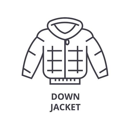 down jacket line icon, outline sign, linear symbol, flat vector illustration