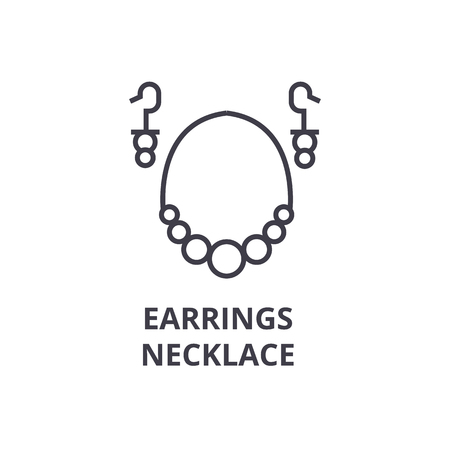 earrings necklace line icon, outline sign, linear symbol, flat vector illustration