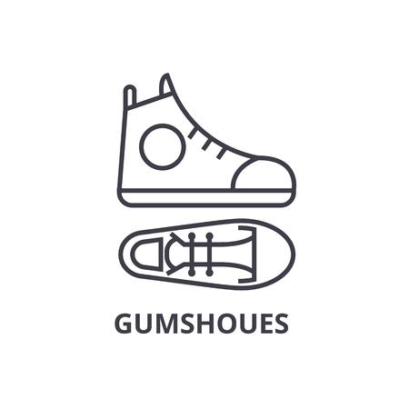 gumshoes line icon, outline sign, linear symbol, flat vector illustration Çizim