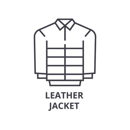 leather jacket line icon, outline sign, linear symbol, flat vector illustration