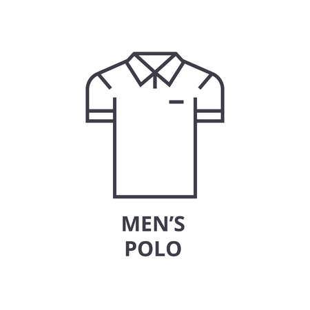 men polo line icon, outline sign, linear symbol, flat vector illustration Illustration