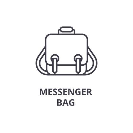 messenger bag line icon, outline sign, linear symbol, flat vector illustration