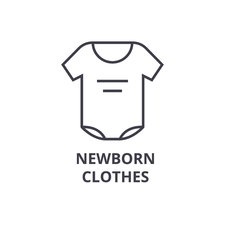 newborn clothes line icon, outline sign, linear symbol, flat vector illustration
