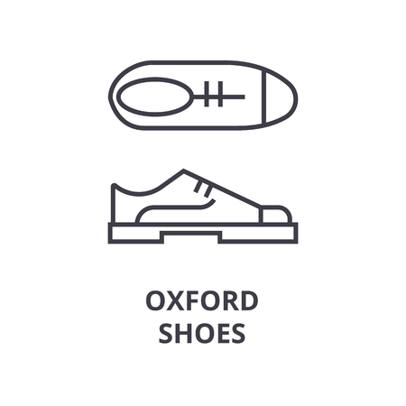 oxford shoes line icon, outline sign, linear symbol, flat vector illustration Stock Vector - 91099339