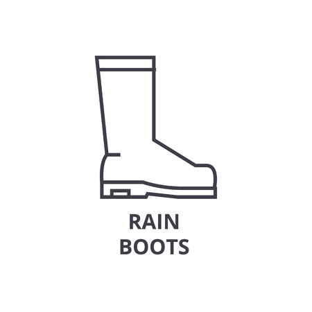 rain boots line icon, outline sign, linear symbol, flat vector illustration Çizim