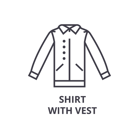 shirt with vest line icon, outline sign, linear symbol, flat vector illustration Иллюстрация