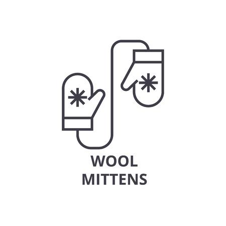 ウールのミトン ライン アイコン、アウトライン記号、線形シンボル、フラットのベクトル図  イラスト・ベクター素材
