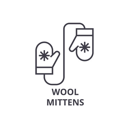 wool mittens line icon, outline sign, linear symbol, flat vector illustration Ilustrace