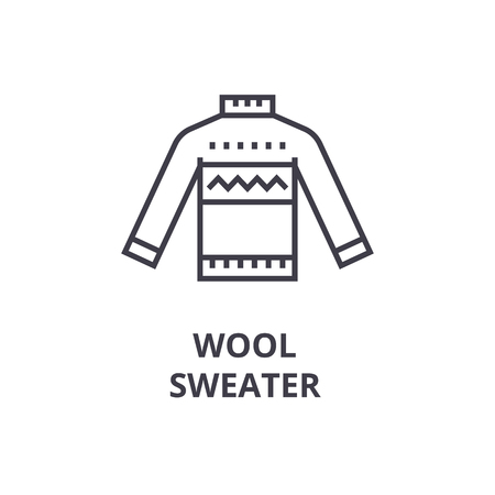 wool sweater line icon, outline sign, linear symbol, flat vector illustration