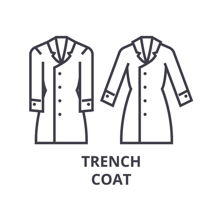 trench coat line icon, outline sign, linear symbol, flat vector illustration
